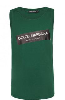 Хлопковая майка с логотипом бренда Dolce & Gabbana