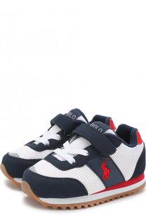 Текстильные кроссовки с замшевой отделкой и застежками велькро Polo Ralph Lauren
