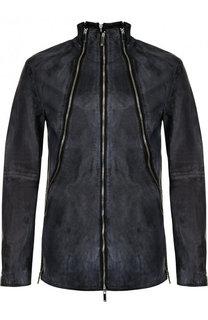 Кожаная куртка на молнии с отделкой Emporio Armani