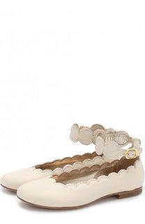 Кожаные балетки с фигурным вырезом и ремешком на щиколотке Gallucci
