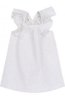 Платье из смеси хлопка и льна с открытыми плечами Chloé