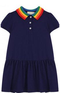 Хлопковое мини-платье с вышивкой на спине и контрастным воротником Gucci