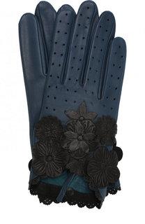 Кожаные перчатки с декоративной отделкой Agnelle