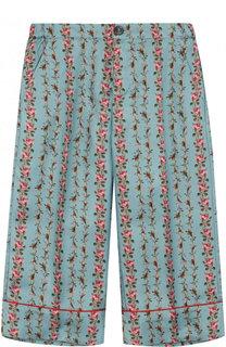 Шелковые брюки свободного кроя Gucci
