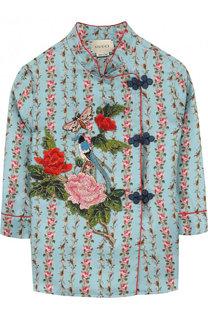 Шелковая блуза с принтом и контрастной вышивкой Gucci