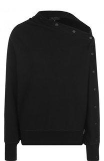 Однотонный хлопковый пуловер асимметричного кроя Rag&Bone Rag&Bone