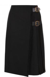Однотонная шерстяная юбка-миди Burberry