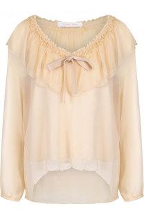 Шелковая блуза свободного кроя с оборкой See by Chloé