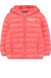 Пуховая куртка с капюшоном и логотипом бренда Ea 7