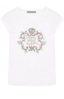 Хлопковая футболка с вышивкой бисером и кристаллами Ermanno Scervino