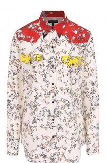 Шелковая блуза свободного кроя с цветочным принтом Rag&Bone Rag&Bone