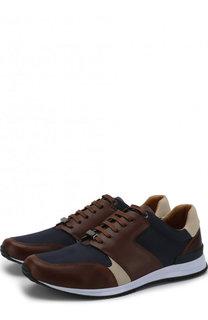 Кожаные кроссовки на шнуровке BOSS