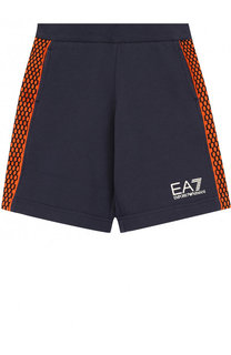 Хлопковые шорты с лампасами и логотипом бренда Ea 7