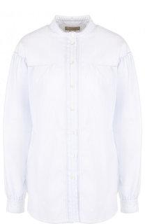 Хлопковая блуза свободного кроя с воротником-стойкой Burberry
