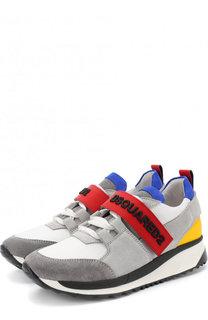 Кожаные кроссовки с замшевой отделкой и застежкой велькро Dsquared2