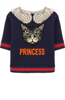 Хлопковый свитшот с кружевным воротником и аппликацией Gucci