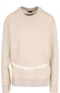 Хлопковый пуловер с круглым вырезом и поясом Joseph