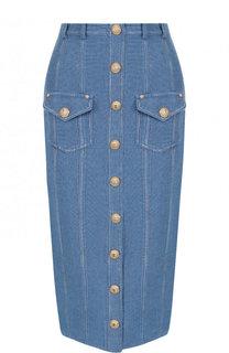 Джинсовая юбка-карандаш с потертостями Balmain