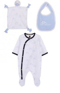 Хлопковый комплект из пижамы с нагрудником и салфеткой Armani Junior