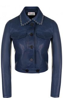 Укороченная кожаная куртка с отложным воротником REDVALENTINO