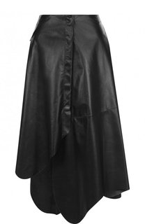 Однотонная кожаная юбка асимметричного кроя DROMe