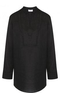 Однотонная льняная блуза свободного кроя Escada Sport