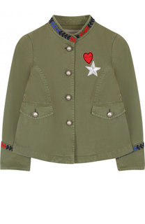 Хлопковая куртка с вышивкой и воротником-стойкой Ermanno Scervino