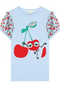 Хлопковая футболка с принтом и контрастными рукавами Fendi Roma