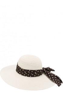 Соломенная шляпа Blanche с лентой в виде банта Maison Michel