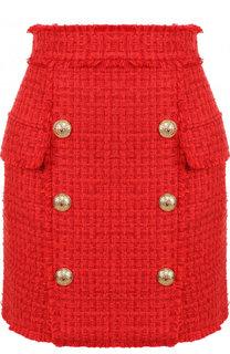 Буклированная мини-юбка с контрастными пуговицами Balmain