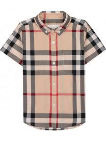 Хлопковая рубашка с принтом и воротником button down Burberry