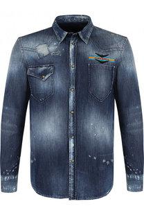 Джинсовая рубашка на кнопках с потертостями Frankie Morello