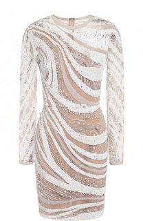 Приталенное мини-платье с длинным рукавом и пайетками Elie Saab