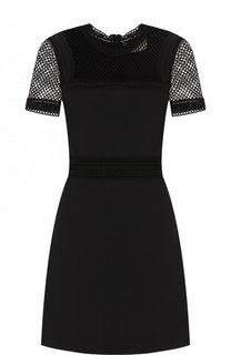 Приталенное мини-платье с коротким рукавом Elie Saab