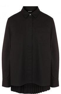 Однотонная хлопковая блуза свободного кроя DKNY