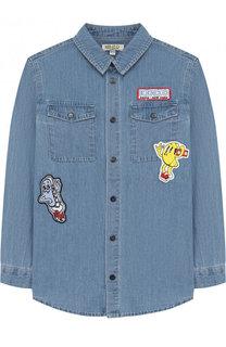 Джинсовая рубашка с нашивками Kenzo