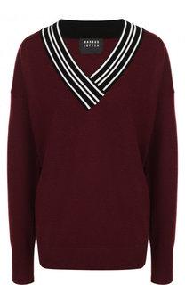 Шерстяной пуловер свободного кроя с V-образным вырезом Markus Lupfer