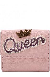 Кожаный кошелек с вышивкой из бисера Dolce & Gabbana