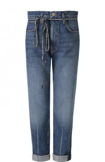 Укороченные джинсы с потертостями и завышенной талией Proenza Schouler