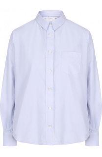 Однотонная хлопковая блуза свободного кроя Sacai