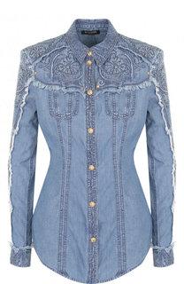 Приталенная джинсовая блуза с потертостями Balmain