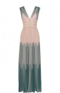 Приталенное вязаное платье-миди с V-образным вырезом M Missoni
