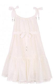 Кружевное платье из смеси хлопка и шелка с поясом Zimmermann