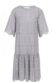 Хлопковое платье свободного кроя с оборками See by Chloé