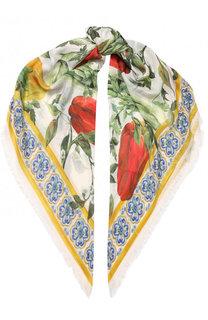 Шарф из смеси модала и кашемира с принтом Dolce & Gabbana