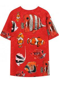 Мини-платье прямого кроя с принтом Dolce & Gabbana
