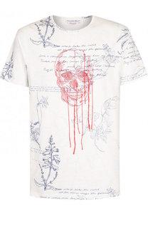 Хлопковая футболка с принтом и вышивкой Alexander McQueen