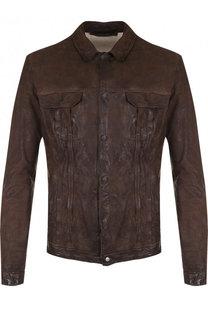 Кожаная куртка на кнопках Salvatore Santoro
