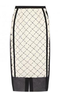 Буклированная юбка-миди с полупрозрачными вставками Sacai