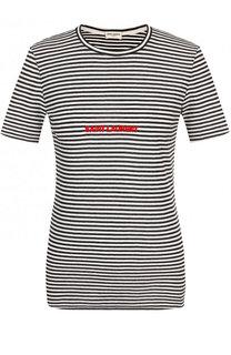 Приталенная хлопковая футболка в полоску Saint Laurent